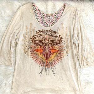 Harley Davidson Rhinestone Embroidered Top